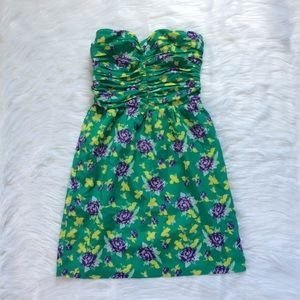 GAP Green Floral Strapless Dress w/ Pockets Size 6